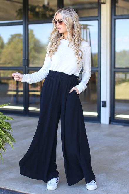 Black - Paperbag Waist Wide Leg Pants
