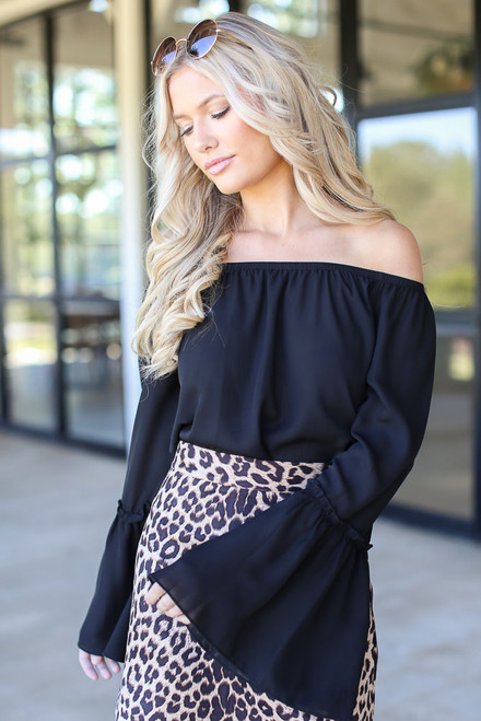 Black - Bell Sleeve Off-the-Shoulder Top