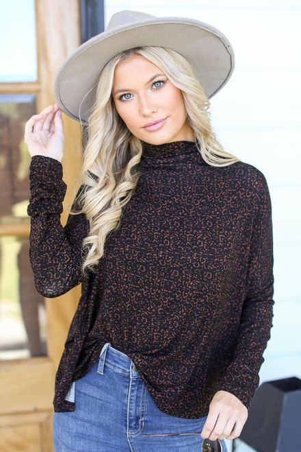 Leopard - Mock Neck Top