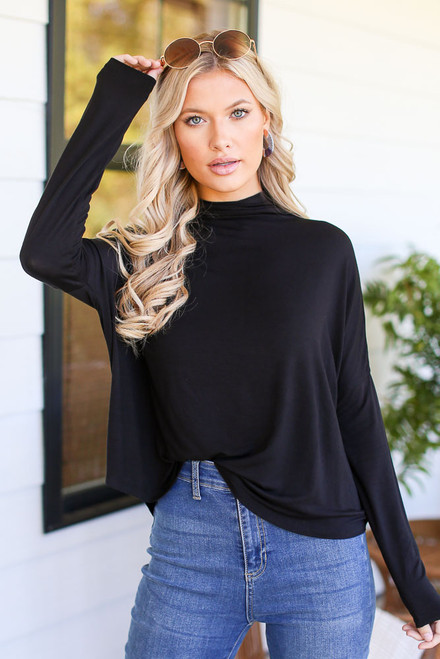 Black - Mock Neck Top