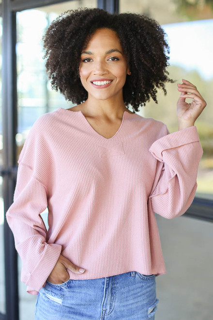Blush - Dress Up model wearing an Oversized Waffle Knit Top with jeans