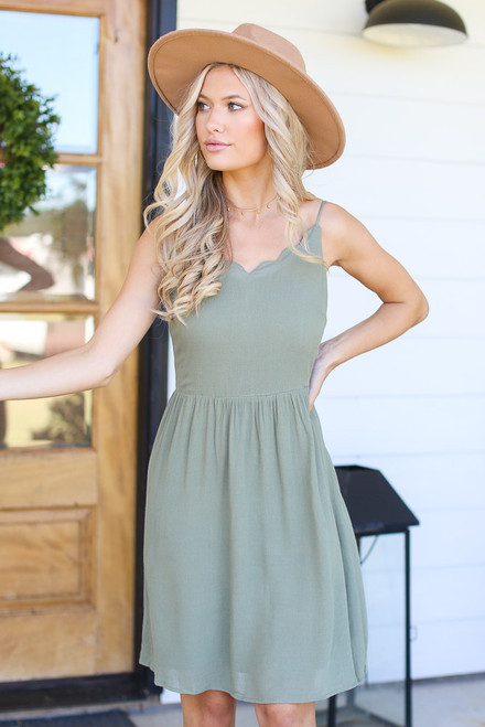 Sage - Scalloped Dress