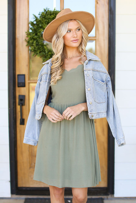 Sage - Scalloped Dress from Dress Up