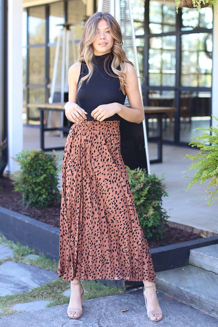 Camel - Pleated Leopard Maxi Skirt