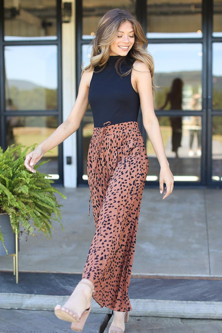 Camel - Pleated Leopard Maxi Skirt from Dress Up