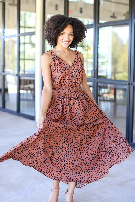 Camel - Leopard Maxi Dress from Dress Up