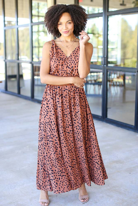 Camel - Leopard Maxi Dress