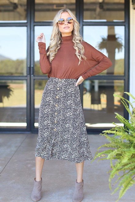 Leopard - Button Front Midi Skirt