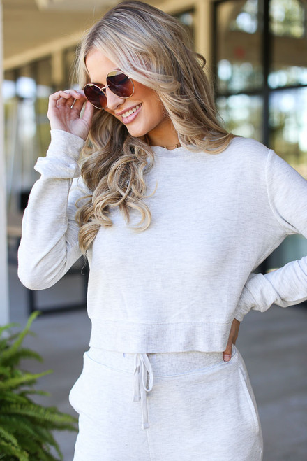 Heather Grey - Model wearing a Cropped Pullover