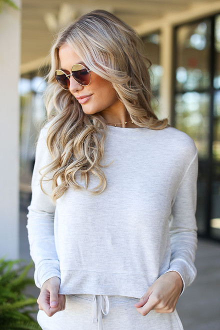 Heather Grey - Dress Up model wearing a Cropped Pullover