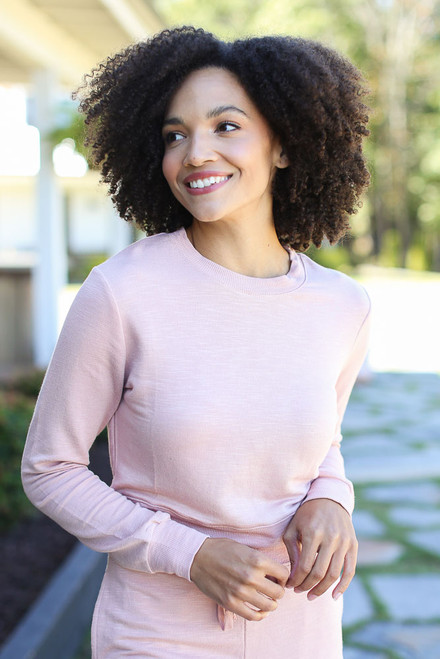 Blush - Dress Up model wearing a Cropped Pullover with the matching joggers