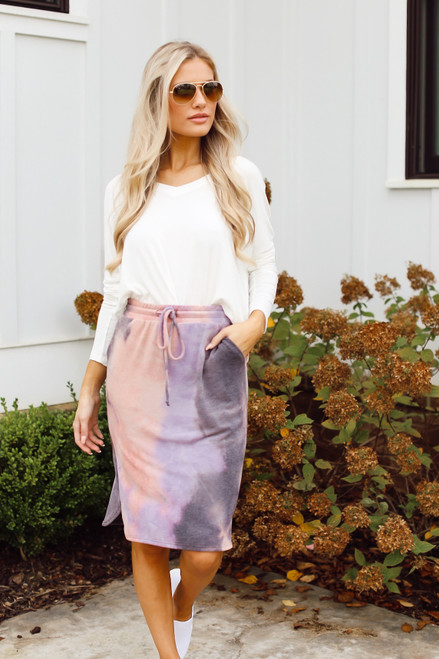 Purple - Soft Knit Tie-Dye Midi Skirt