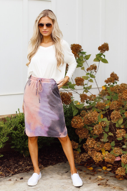 Purple - Soft Knit Tie-Dye Midi Skirt from Dress Up