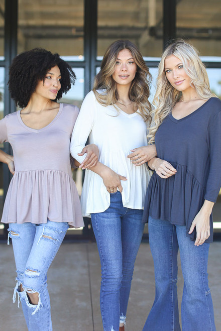 Taupe - Oversized Babydoll Top