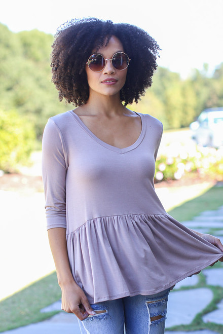 Taupe - Oversized Babydoll Top from Dress Up