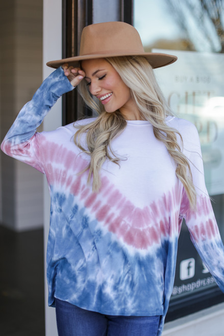 Navy - Model wearing an Oversized Tie-Dye Top with jeans