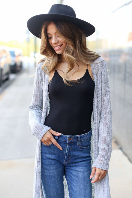 Grey - Loose Knit Cardigan from Dress Up