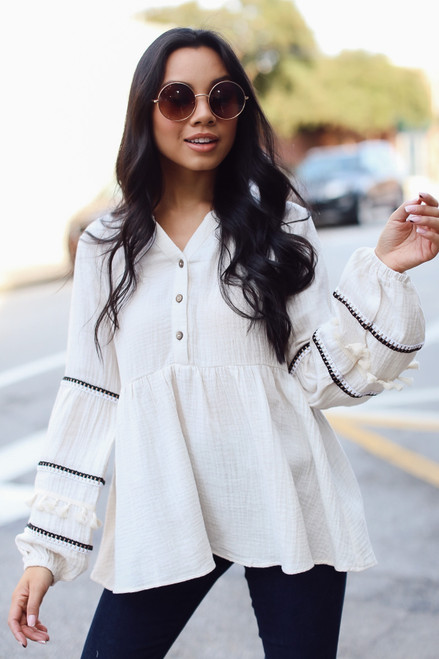 Ivory - Statement Sleeve Babydoll Blouse