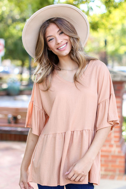Peach - Oversized Babydoll Top