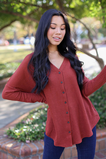 Wine - Button Front Waffle Knit Top