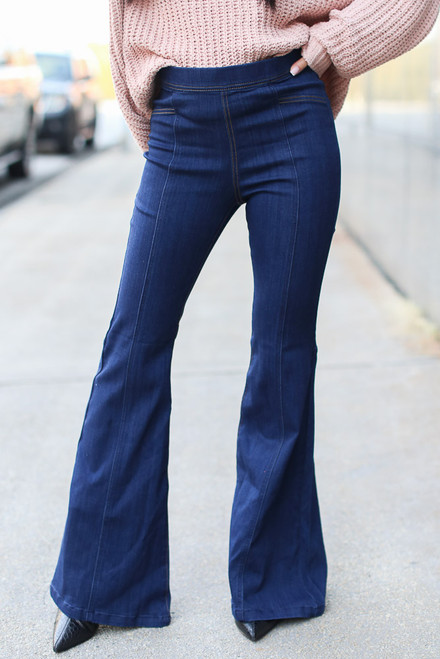 Dark Wash - High-Rise Flare Jeans