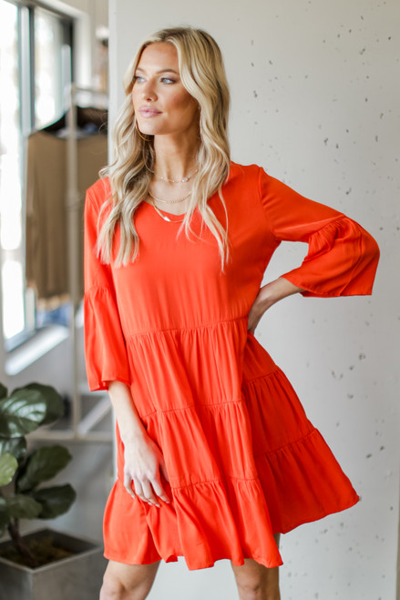 Orange - Tiered Babydoll Dress