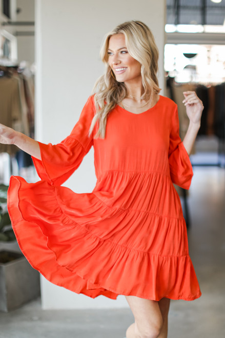Orange - Tiered Babydoll Dress from Dress Up