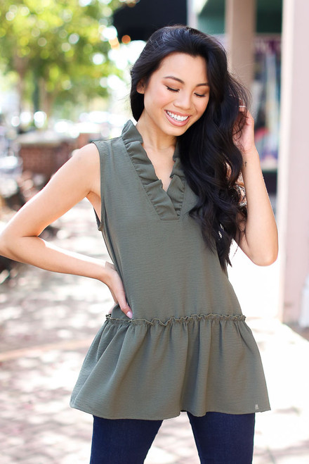 Olive - Ruffled Sleeveless Blouse