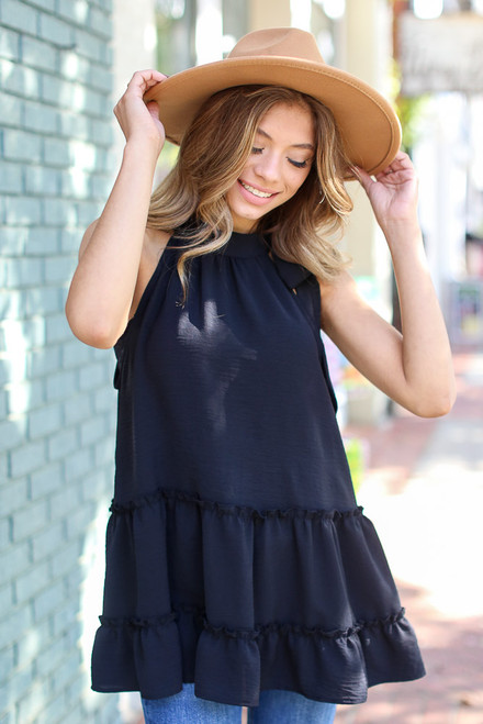 Black - Tie-Neck Sleeveless Blouse