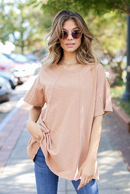 Camel - Oversized Knit Top