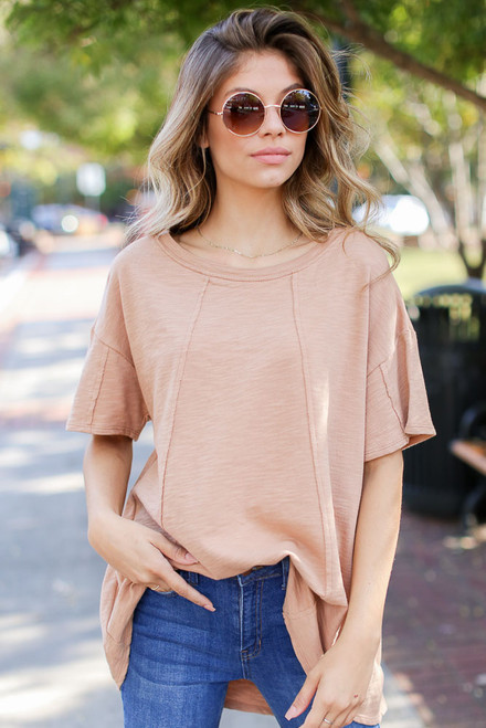 Camel - Oversized Knit Top from Dress Up