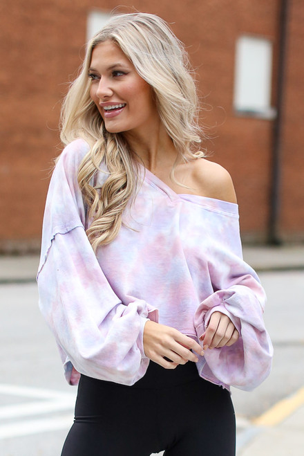 Lavender - Cropped Tie-Dye Pullover