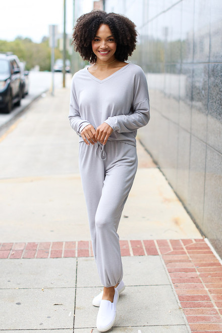 Grey - Soft Knit Joggers from Dress Up