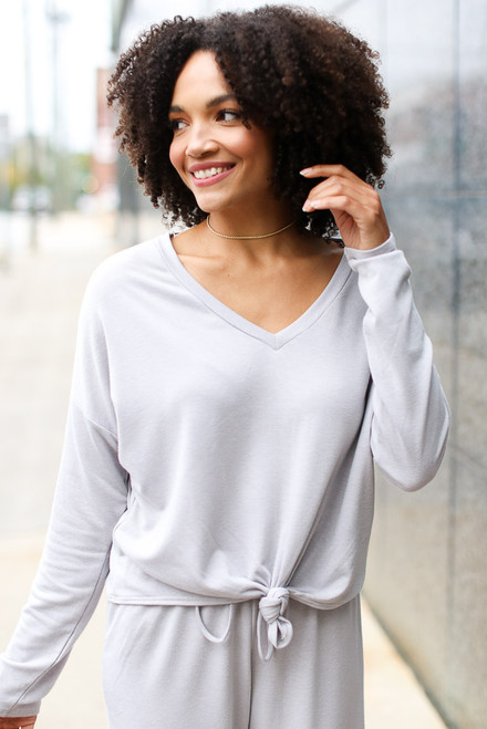Grey - Soft Knit Knotted Top