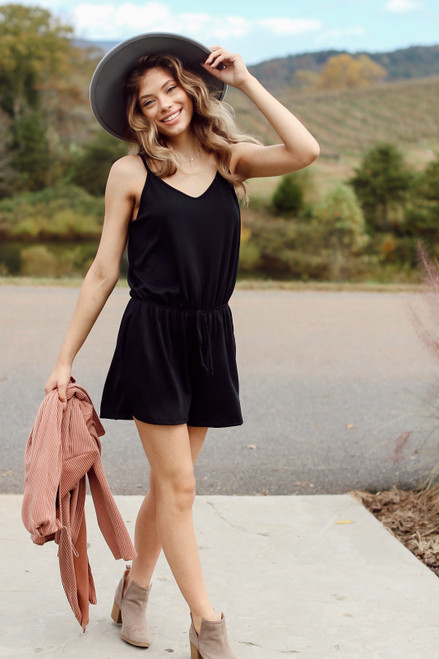 Black - Soft Knit Romper