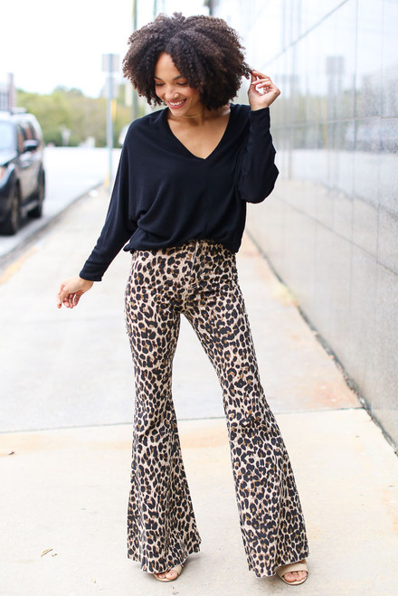 Leopard - Flare Jeans