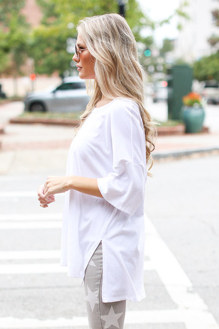 White - Basic Oversized Tee in White Side View