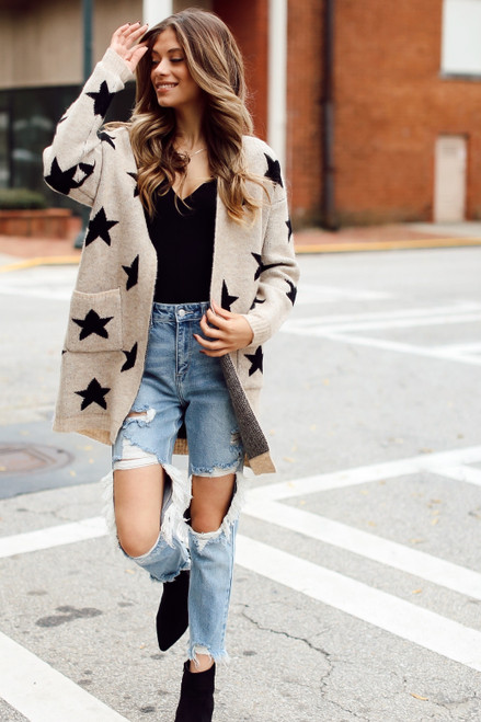 Taupe - Brushed Knit Star Cardigan