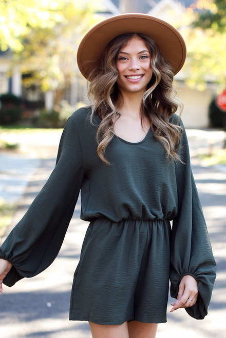 Olive - Balloon Sleeve Romper Front View
