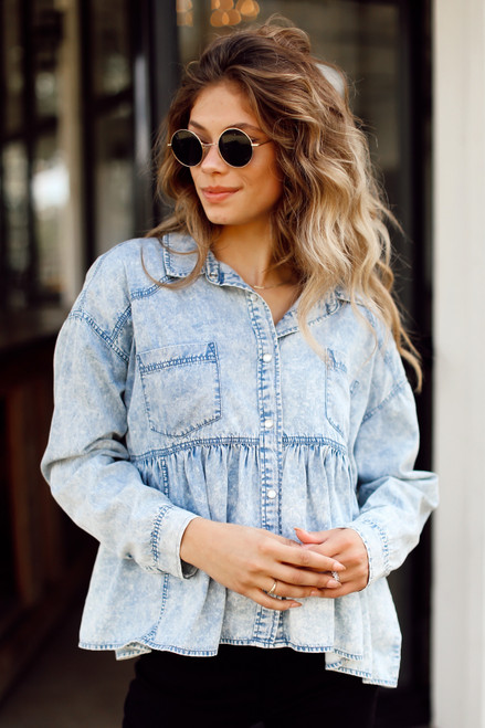 Denim - Babydoll Blouse