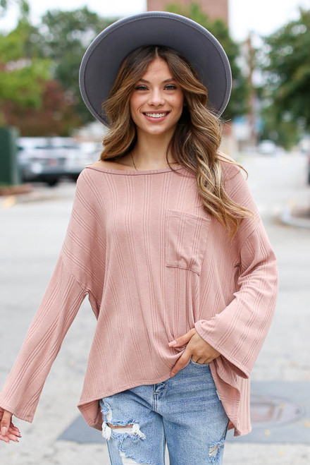 Blush - Oversized Knit Top