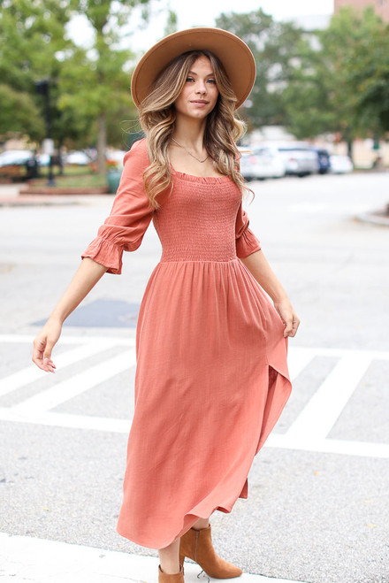 Rust - Smocked Midi Dress