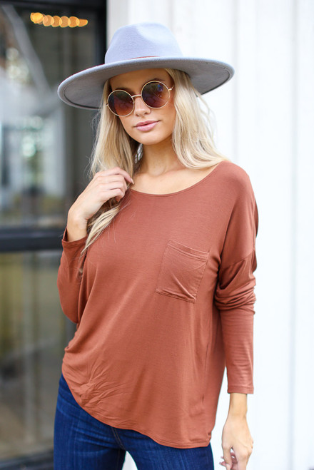 Camel - Dress Up model wearing an Oversized Front Pocket Top