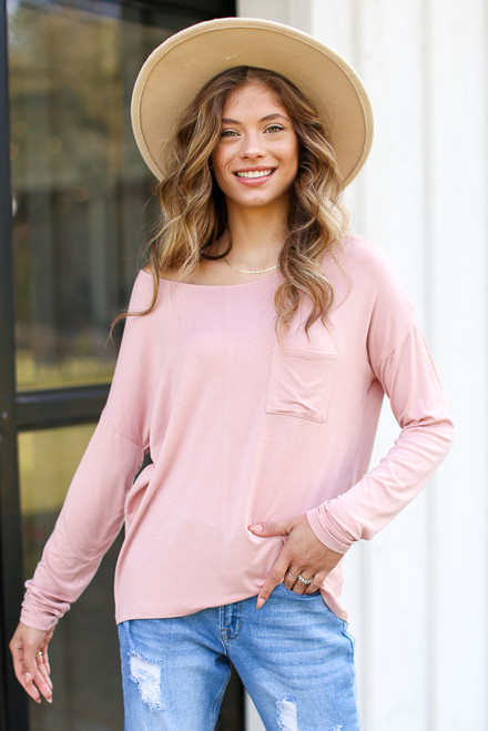 Blush - Oversized Front Pocket Top