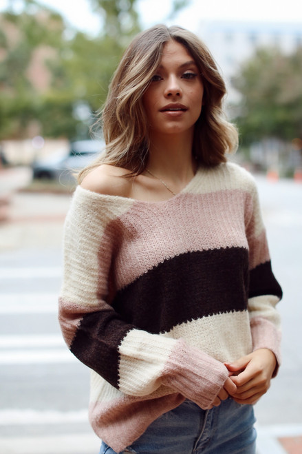 Blush - Model wearing an Oversized Striped Sweater