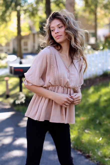 Taupe - Crochet Babydoll Top