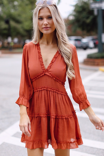 Rust - Tiered Ruffle Dress