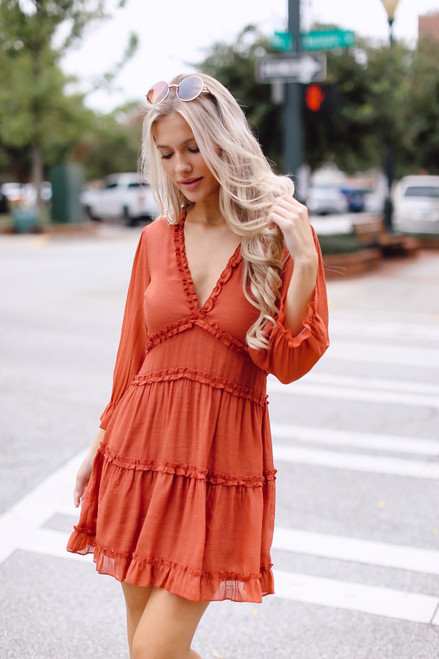 Rust - Tiered Ruffle Dress from Dress Up