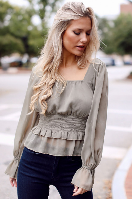 Olive - Smocked Blouse