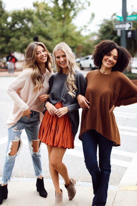 Brown - Oversized Waffle Knit Top